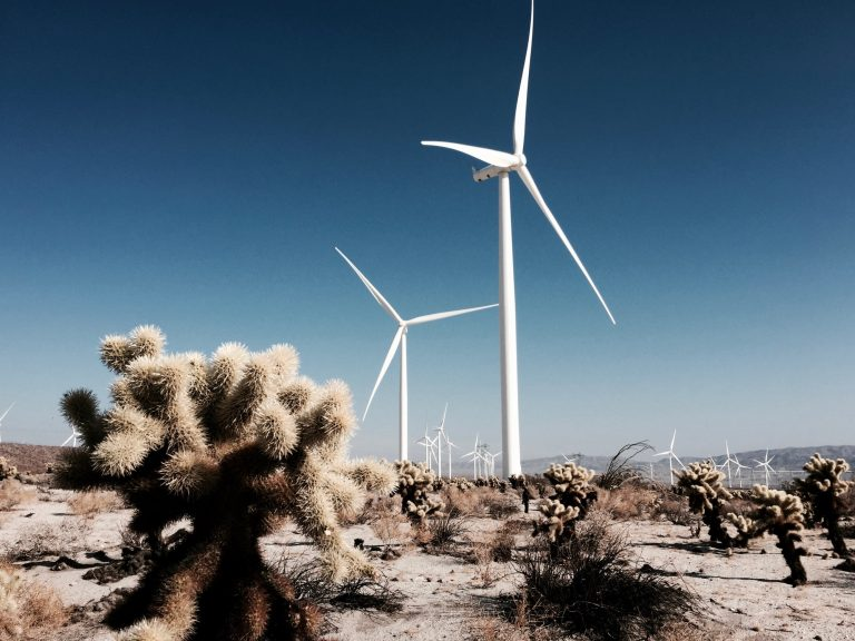 Clean wind energy at work in the California dessert.