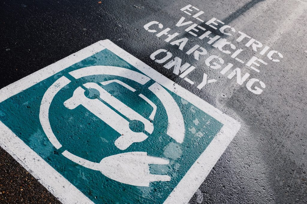 Electric vehicle charging parking space